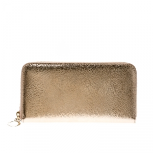 Bvlgari Metallic Bronze Leather Zip Around Wallet