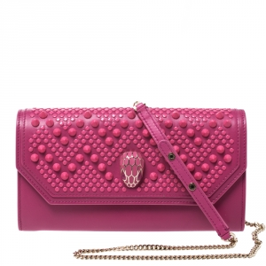 Bvlgari x Nicholas Kirkwood Fuchsia Studded Leather Serpenti Forever Wallet On Chain