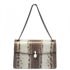 Bvlgari Brown/Grey Karung Medium Serpenti Forever Flap Shoulder Bag