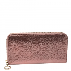 Bvlgari Metallic Pink Leather Zip Around Wallet