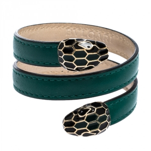 Bvlgari Serpenti Forever Green Leather Gold Tone Multi-coiled Rigid Bracelet