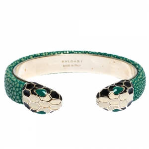 Bvlgari Serpenti Forever Enamel & Green Galuchat Leather Gold Plated Open Cuff Bracelet