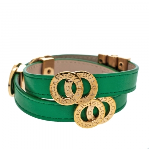 Bvlgari Bvlgari Interlocking Circles Green Leather Gold Plated Double Coiled Bracelet