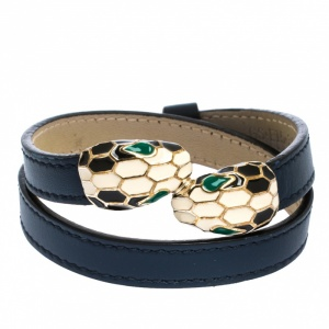 Bvlgari Serpenti Forever Enamel Blue Leather Gold Plated Double Coiled Bracelet