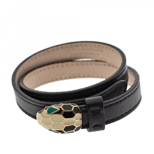 Bvlgari Serpenti Forever Enamel Black Leather Gold Plated Double Coiled Bracelet