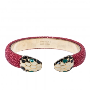 Bvlgari Serpenti Forever Red Galuchat Leather Open Cuff Bracelet