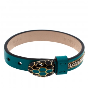 Bvlgari Serpenti Forever 3 Chain Motif Enamel Green Leather Gold Plated Bracelet