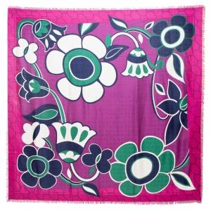 Bvlgari Multicolor Floral Print Silk Scarf