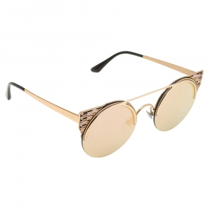 Bvlgari Gold Tone/ Rose Gold Mirrored 6088 Serpenti Sunglasses