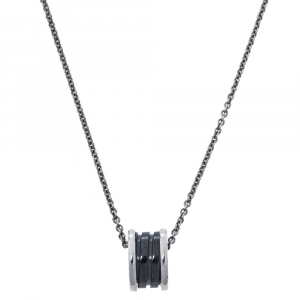 Bvlgari Save the Children Black Ceramic and Silver Pendant Necklace