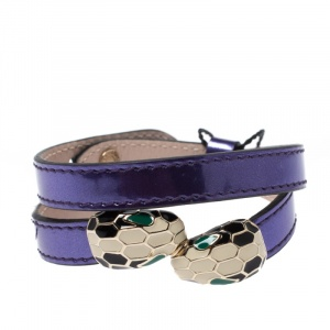 Bvlgari Metallic Purple Leather Serpenti Forever Double Coiled Bracelet