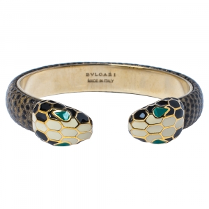 Bvlgari Serpenti Forever Brown Lizard Skin Gold Plated Open Cuff Bracelet