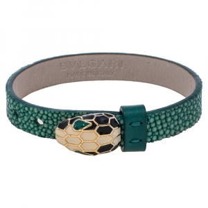 Bvlgari Serpenti Forever Green Galuchat Leather Wrap Bracelet