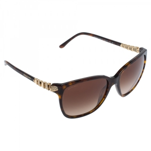 Bvlgari Havana Brown & Crystals/ Brown Gradient BV 8136B Square Sunglasses