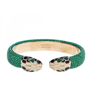 Bvlgari Serpenti Forever Enamel Green Galuchat Leather Gold Plated Open Cuff Bracelet