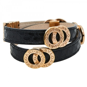 Bvlgari Black Snakeskin Leather Gold Tone Double Wrap Bracelet