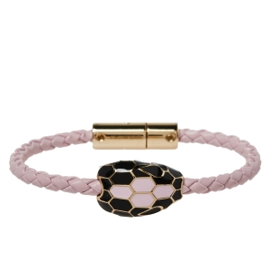 Bvlgari Serpenti Forever Rosa di Francia Enamel Braided Leather Bracelet