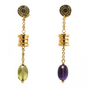Bvlgari B.Zero1 18k Yellow Gold Peridot & Amethyst Dangle Earrings