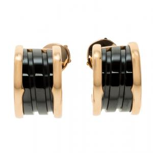 Bvlgari B.Zero1 Black Ceramic 18k Rose Gold Earrings