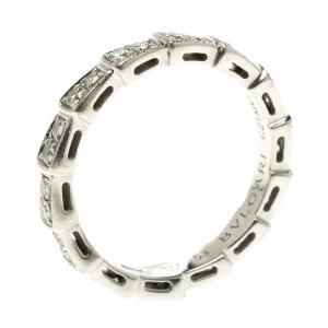 Bvlgari Serpenti Pave Diamonds & White Gold Wedding Band Ring Size 53