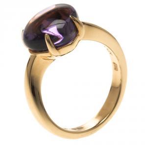 Bvlgari Sassi Amethyst Cabochon 18k Yellow Gold Ring Size 50