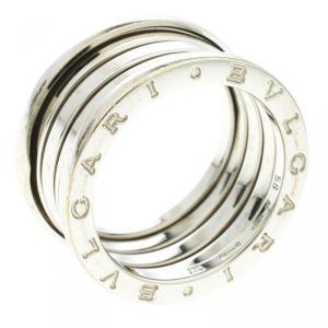 Bvlgari B.Zero1 4-Band 18k White Gold Band Ring Size 58
