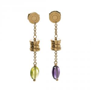 Bvlgari B.Zero1 Peridot & Amethyst 18k Rose Gold Drop Earrings