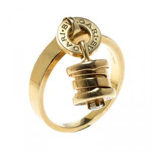 Bvlgari B.Zero1 18k Yellow Gold Diamond Charm Ring Size 56