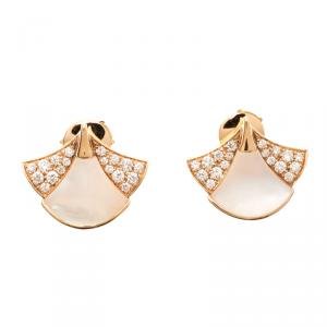 Bvlgari Divas' Dream Mother of Pearl & Diamond 18K Rose Gold Stud Earrings
