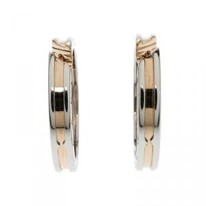 Bvlgari B.Zero1 18k Rose Gold & Stainless Steel Hoop Earrings
