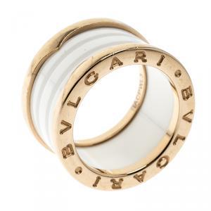 Bvlgari B.Zero1 4 Band White Ceramic 18k Rose Gold Ring Size 50