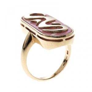 Bvlgari Vintage Rhodochrosite Inlay 18k Yellow Gold Ring Size 57
