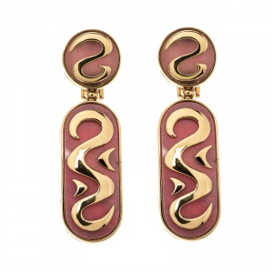 Bvlgari Vintage Rhodochrosite Inlay 18k Yellow Gold Clip-on Drop Earrings