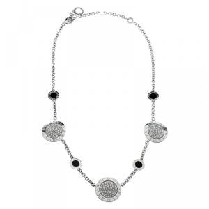 Bvlgari Diamond Onyx 18k White Gold Station Necklace