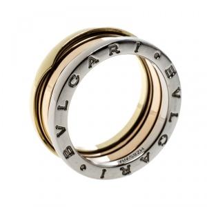 Bvlgari B Zero1 18k Three Tone Gold Band Ring Size 57