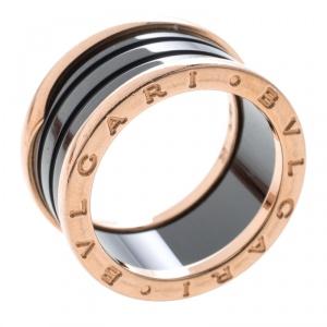 Bvlgari B.Zero1 Ceramic 18k Rose Gold  4-Band Ring Size 58
