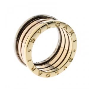 Bvlgari B.Zero1 4-Band 18k Three Tone Gold Ring Size 57