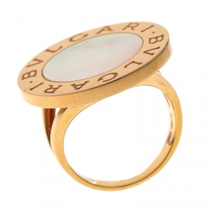 Bvlgari Mother of Pearl Inlay 18k Rose Gold Circular Ring Size 58