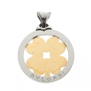 Bvlgari Tondo Four Leaf Clover 18k Yellow Gold & Stainless Steel Large Pendant