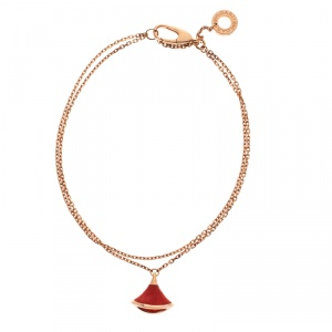 Bvlgari Divas' Dream Coral Charm 18K Rose Gold Chain Bracelet 18cm
