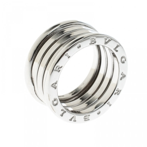 Bvlgari B.Zero1 4-Band 18k White Gold Ring Size 51