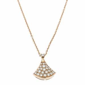 Bvlgari Divas' Dream Pavè Diamond 18K Rose Gold Pendant Necklace