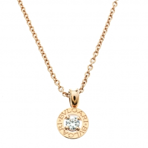 Bvlgari Diamond & 18k Rose Gold Pendant Necklace
