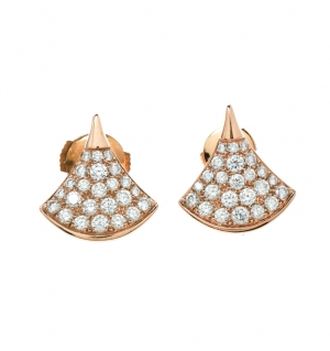 Bvlgari Divas' Dream Pave Diamonds 18k Rose Gold Stud Earrings