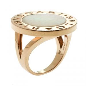 Bvlgari Bvlgari Mother of Pearl 18k Rose Gold Circular Ring Size 55
