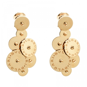 Bvlgari Cicladi 18k Yellow Gold Cluster Disc Drop Earrings