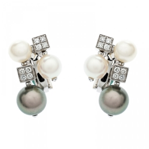 Bvlgari Lucea Diamond Cultured Pearl 18k White Gold Cluster Earrings