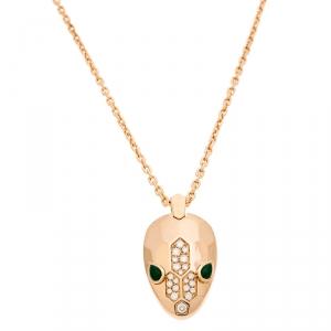 Bvlgari Serpenti Malachite Pave Diamonds 18k Rose Gold Pendant Necklace