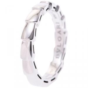 Bvlgari Serpenti 18K White Gold Wedding Band Ring Size 54