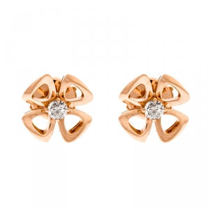 Bvlgari Fiorever Diamond 18k Rose Gold Flower Stud Earrings